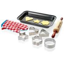 <strong>Sekoita, rullaa, leikkaa ja paista!</strong> Parhaisiin hetkiin kuuluu ehdottomasti se, kun kokataan tai leivotaan yhdessä. Aikuiset ja lapset. Se on hieno, luonteva tapa seurustella. Kääri siis hihat, ota esiliinat esille ja tartu toimeen!  <strong>Tämä sarja sisältää kaiken mitä tarvitset piparkakkujen tekemiseen:</strong> Piparkakkumuotit, kaulin, leivinpelti ja uunikintaat lapsille <br/> <br/>
